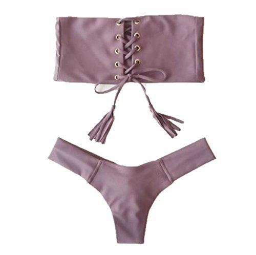 ASSKDAN Damen Bandeau Bikini BH Sexy Bandage Quaste Design Gepolstert Bikini-Sets Bademode Beachwear Badeanzug (EU 36, Violett)