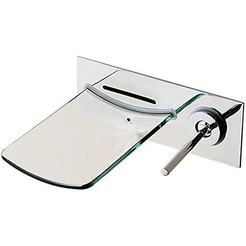 Hiendure® Latón montaje en pared surtidor de vidrio grifo del fregadero baño lavabo cocina monomando , latón