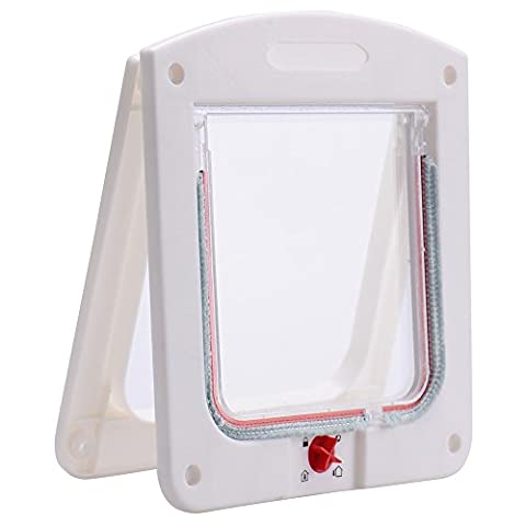 White 4 Way Locking Lockable Pet Cat Small Dog Flap Door for Pet Care