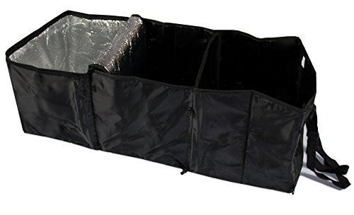 ZOLLNER® Kofferraum Organizer / Kofferraumtasche / Auto Faltbox / Kofferraumbox / Einkaufstasche faltbar / Autotasche mit Kühlfach und 2 Tragegriffen, ca. 30x31x86 cm, schwarz, Serie