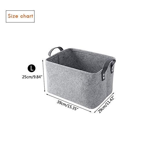 Surenhap Filzbezug grau, Wäschekorb Aufbewahrungsbox mit Tragegriffen Spielzeug-Organizer Kleidung Organizer Korb Aufbewahrung passen auf die meisten Regale (L, 2 pcs) -