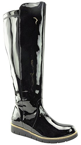 JJ Footwear Damen Stiefel Patent Boldon M/L Schwarz stretch patent