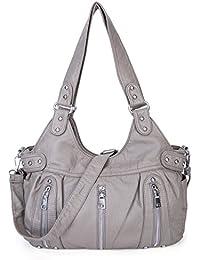 BAIGIO Soft Leather Washed Crossbody BagRetro Hobo Purse Top Handle Shoulder Bag Handbag For Women