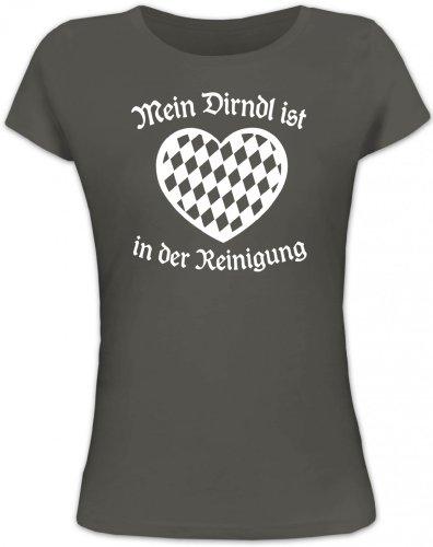 Shirtstreet24, Mein Dirndl ist in der Reinigung, Oktoberfest Lady / Girlie Shirt, Größe: M,dunkelgrau