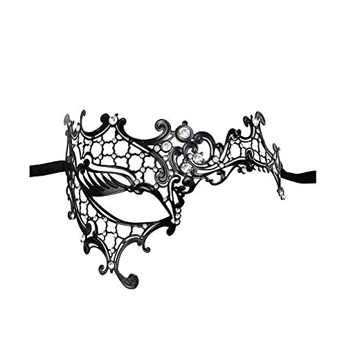 VABNEER Maske Metall Damen Spitze Sexy Maskenspiel Karneval Maskerade Schwarzer Spitze Faschingsmasken Maskerade Charmante Halbe Gesichtsmaske Für Hallween Weihnachten ()