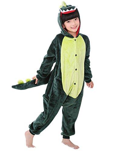 (Semia Kinder Jumpsuit Tier Verdickt Flanellen Unisex Kostüm Cosplay Pyjama Overall Hausanzug Sleepsuit Schlafanzug Cosplay Karneval Dino 90-100cm)
