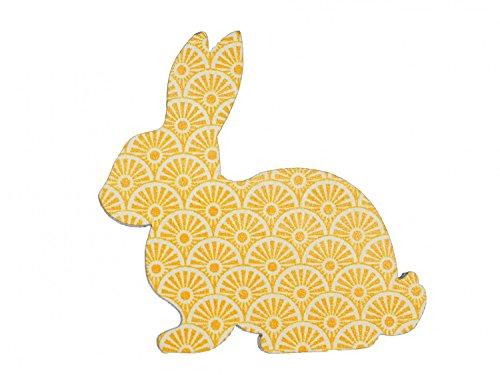 Holz Brosche (Hase Brosche Miniblings Anstecknadel Ostern Kaninchen Osterhase Holz gelb)