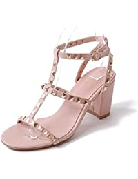 NobS Dames Ankle Strap Mary Jane Ouvert, doigt Des sandales Femmes Boucle Rivets Chaussures Talon bas Cuir Chaussures