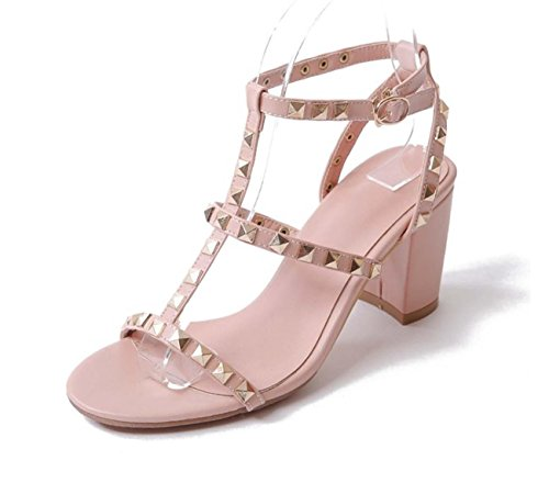 NobS Dames Ankle Strap Mary Jane Ouvert, doigt Des sandales Femmes Boucle Rivets Chaussures Talon bas Cuir Chaussures Pink
