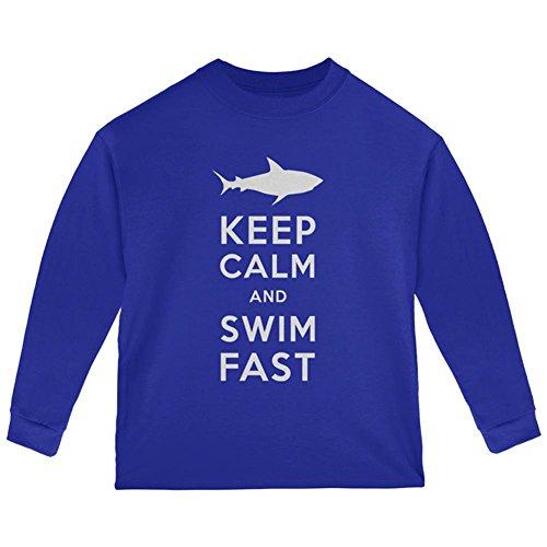 Old Glory Shark Keep Ruhig und Schwimmen Schnell Kleinkind Langarm T-Shirt Royal Kleinkind Größe 5/6 (Schwimmen Kleinkind-t-shirt)