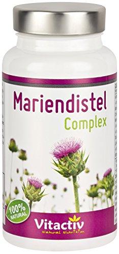 Mariendistel Complex Mit 80% Silymarin. hochdosiertes gemahlenes Mariendistelextrakt + Artischocke + Löwenzahnwurzel + Taurin + Cholin Kombipräparat für Leber und Verdauung, 60 Kapseln (Monatspack)