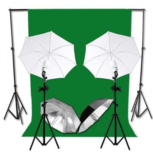 RPGT® Fotostudio Hintergrund-Set (4 Farben) + Fotolampe, Reflexschrim - Komplettset