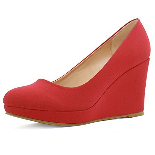 Allegra K Femme Bout Arrondi Plateformes Talon Compensé Moyen Chaussures red