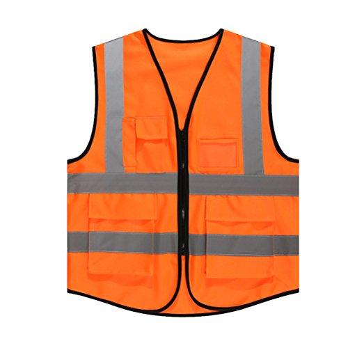 Tinksky Chaleco de seguridad reflectante de alta visibilidad con bolsillos y cremallera...