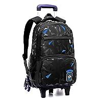 BOZEVON School Bag - Primary Children School Rolling Trolley Backpacks Waterproof Nylon Kids Luggage,Black Blue,One Size