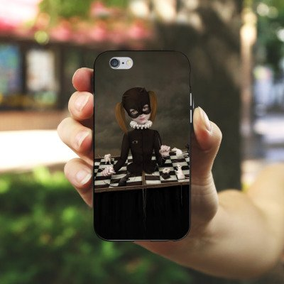 Apple iPhone X Silikon Hülle Case Schutzhülle Schach Maske Mädchen Girl Silikon Case schwarz / weiß
