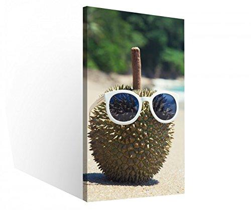 Leinwandbild 1 Tlg Durian Meer Strand lustig Brille Urlaub Leinwand Bild Bilder Druck Holz gerahmt 9V081, 1 Tlg BxH:40x80cm