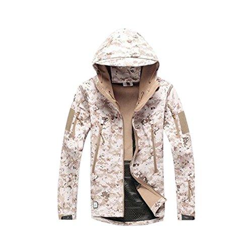 Haodasi Männer Jagd Militär Winddicht Soft Shell Camo Technisch Jacke Mantel Plus Größe (Männer Camo Winter Mantel)