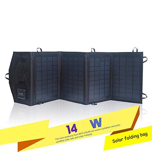 XZB Solarladegerät 14W mit USB-Port (faltbar, Portable) Solarpanel der hohen Leistungsfähigkeits-im Freien für Smartphonetabletten und mehr Mobile Arbeit-feld