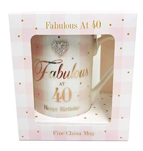 Card and Party Store Fabulosa Taza de 40 cumpleaños con Diamantes de imitación para Regalo de 40 años