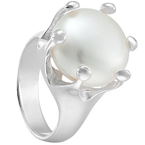 Vinani Ring Krone mit Natur Perle gefasst massiv glänzend Sterling Silber 925 Größe 60 (19.1) 2RKP-60 (Ring Mit Krone)