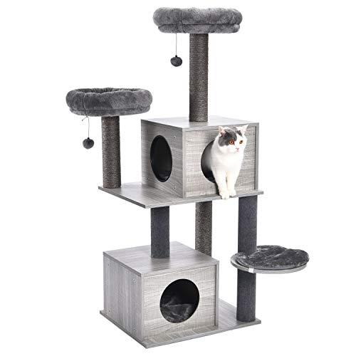 OHANA Stabiler Kratzbaume Kratzbäume Katzenbaum Moderne mit Sisal überzogenen Stämme und Katzenhaus, Kletterbaum Katzenmöbel Grau 59 * 48 * 141cm