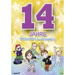 Archie Geburtstagskarte zum 14. Geburtstag Junge Mädchen gelb Glückwunschkart...