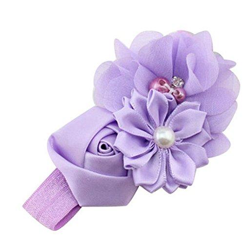 Hirolan Blumenstirnband, Mode Baby Mädchen Blume Perle Blume Haar Band Stirnband Haarband Haarschmuck für Mädchen Brautjungfer, für Hochzeit Geburtstag Party (3-5 Monate Baby, Violett) (Helle Regenbogen Halloween-kostüme)