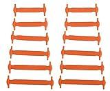 Tri-Elt 12 Stück Kinder bunte einfache elastisch slip On Silikon Schnürsenkel Schuhband (Orange)