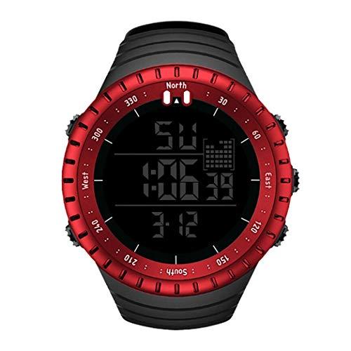 Odejoy-3c orologio sportivo da uomo 30m impermeabile da esterno. orologio luminoso con sveglia-orologio sportivo impermeabile all'aria aperta-display luminoso-sveglia-calendario-orologio (rosso)