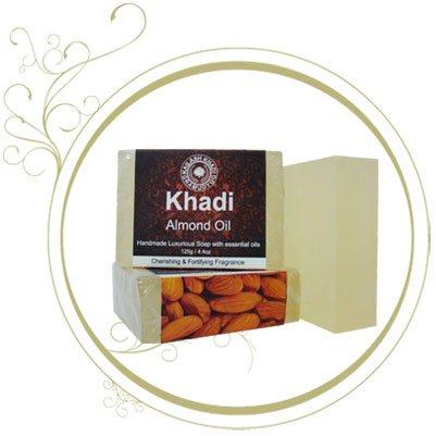 Khadi Almond Oil Homemade Premium Soap (Set of 3 Soap) 125 g