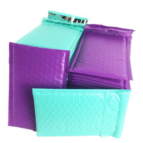 sarira C Lila und blaugrün blau Bubble Versandtaschen Poly gepolsterte Briefumschläge 4x8
