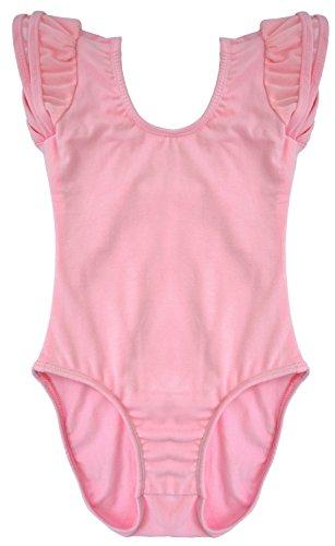 Dancina Mädchen Body Ballettanzug Flügelärmel mit Spandex 116/122 Rosa (Danskin Mädchen Gymnastik Trikot)