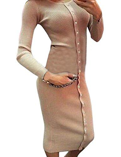 Shinekoo Femmes Une Rangée de Boutons Automne Tricot à Manches Longues Robe de Base Kaki