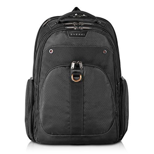 Everki Atlas - Laptop Rucksack mit anpassbarem Fach für Notebooks von 13 bis 17,3 Zoll (33 - 43,9 cm), Trolley-Lasche, durchdachtem Fächen-Konzept und weiteren hochwertigen Funktionen, Schwarz