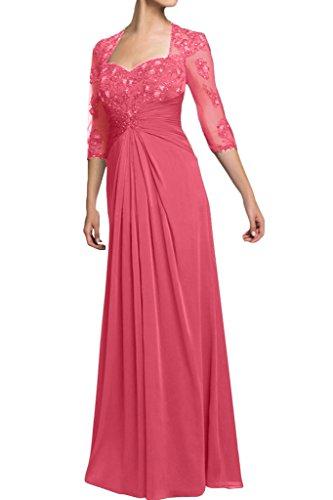 Missdressy Damen Chiffon Lang Spitze Tuell Durschsichtig Falten Abendkleid Ballkleid Festkleid Hochzeitsgast Kleid Wassermelone
