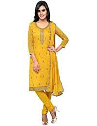 Kanchnar Women's Yellow Chanderi Cotton Embroidery Unstitched Dress Material