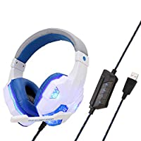 PS4 Headset with 7.1 Surround Sound Stereo , ACMEDE PC Gaming Headset with Mic LED Light Noise Cancelling & Volume Control, 1 USB Port