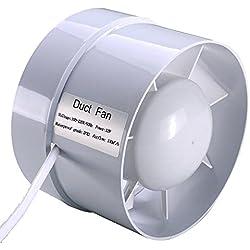 SAILFLO 100 mm extracteur d'air silencieux 12W 130m³/h économe en énergie à flux mixte ventilateur de conduit pour bain, évents, serres, tentes (4 inch)