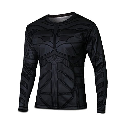 Born2Ride - Camiseta de manga larga, diseño de superhéroe, para disfraz/gimnasio/ciclismo, talla L, de Batman