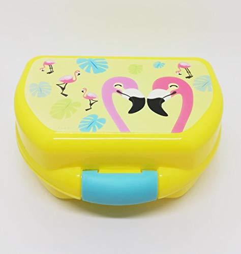 NAKO Kinder Lunchbox mit Flasche Ideal auch für einen Ausfug beim Sport oder in der Schule/Kindergarten Das Lunch-Set besteht aus Einer Pop-up Trinkflasche und Einer Kunststoff (Flamingo(Gelb))