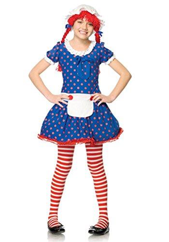 Leg Avenue - Rag Doll Kinderkostüm Stoffpuppe - Blau/Rosa - L 127-140cm (Mädchen Rag Doll Perücke)