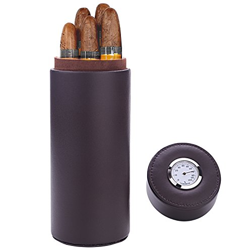 Caja puros, madera cedro forrado cuero humidificador
