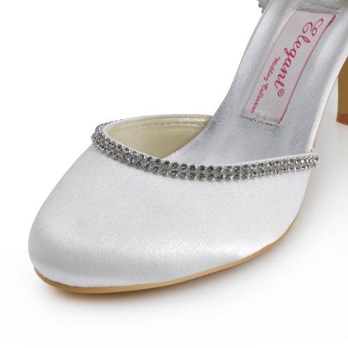 ElegantPark EP11068 Escarpins Femme Satin Bout Rond Bride Cheville Diamant Chaussures de mariee Bal Blanc