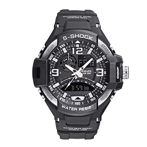 REALIKE Herren Digitale Armbanduhr, Outdoor Laufen wasserdichte Uhren, Cool Sport große Anzeige Sportuhr mit Wecker für Herren Erwachsene Smart Watch -Weiß, Orange, Rot, Grau, Blau, Grün