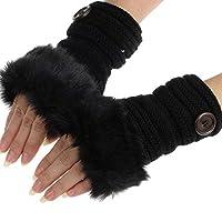 DEELIN Sale Clearance Fashion Women Girl Warm Winter Faux Rabbit Fur Wrist Fingerless Gloves Mittens Outdoor Lightweight Ladies Thick Gloves Black