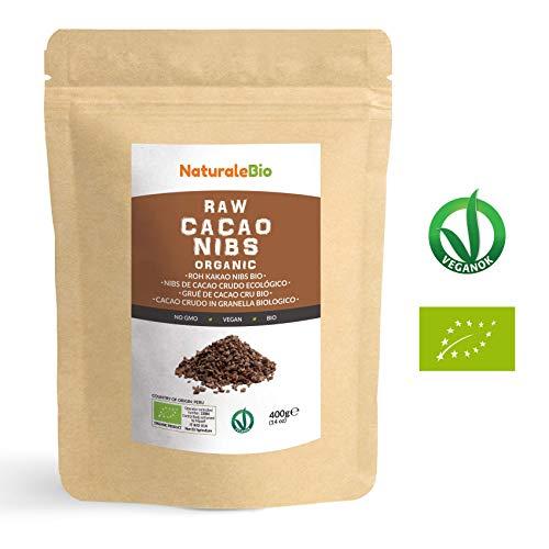 Nibs de Cacao Crudo Ecológico 400 g | 100 {f1972a094ca4bc3323abc115c6f273cd0342d1033702161f612a48ac089afa43} Puntas de Cacao Bio, Natural y Puro | Cultivado en Perú a partir de la planta Theobroma cacao | Rico en antioxidantes, minerales y vitaminas | NATURALEBIO