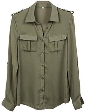 AIMEE7 Camisa Casual Floja De La Moda Verde Militar De Las Mujeres