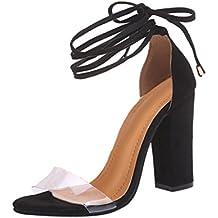 Sandalias mujer, ❤️ Manadlian Sandalias de mujer Moda Tacones altos de tobillo Fiesta en la calle Zapatos con punta abierta (CN:37, Negro)