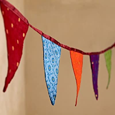 Fair Trade Large Sari Bunting with 10 flags - inexpensive UK rug store.
